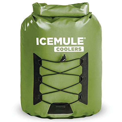 IceMule 1014-OL Pro Large Collapsible Portable Soft Sided Roll Top 23 Liter 18 Can Lightweight Insulated Waterproof Leak Proof Backpack Cooler Bag, for Hiking, Camping, Fishing, & Picnic