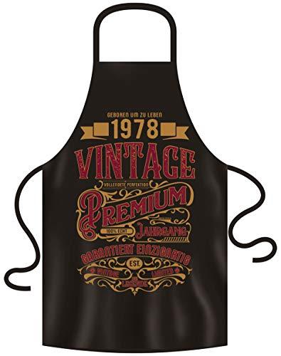 Schürze mit Geburtstagsurkunde - Premium Vintage 1978 Geschenk für den Jahrgang 1978 Männer & Frauen Grillschürze 42. Geburtstag Farbe:schwarz