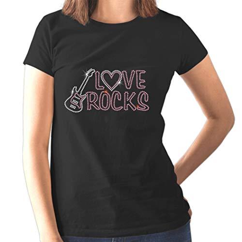 Love Rocks & Guitar – Camiseta ajustada para mujer – diseño de piedras y guitarra – Rock and Roll – Disco – Disfraz – Disfraz – Talla 6 a 16) Negro Negro ( 38 ES/40 ES/L