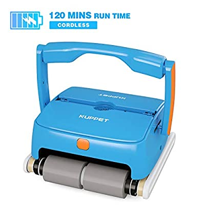 KUPPET Cordless Automatic Pool Cleaner - Robotic Pool Cleaner with 7800mAh Rechargeable Battery, 120 Mins Long Running Time, In Ground/Above Ground Pool Cleaner with Wall Climbing Function