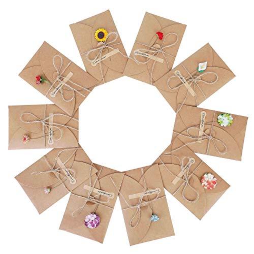 Grußkarten 10 Stück Grußkarte Set Blanko Handgemachte Retro Kraftpapier Karte und Umschlag Blanko mit Getrocknete Blumen für Erntedankfest Valentinstag Muttertag 17.5cm x 11cm