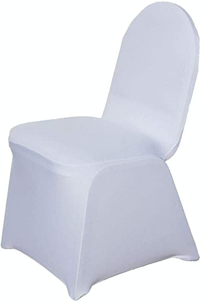 Efavormart 100 PCS White Stretchy Spandex Fitted Banquet Chair Cover Dinning Event Slipcover For Wedding Party Banquet Catering