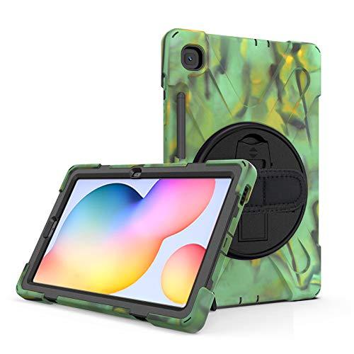 Funda para Galaxy Tab S6 Lite 10.4-Pulgadas (SM-P610/P615) 2020, Cubierta Protectora Completa a Prueba de Golpes de Tres Capa con 360° Rotativo Soporte, Correa de Mano/Hombro,Camouflage