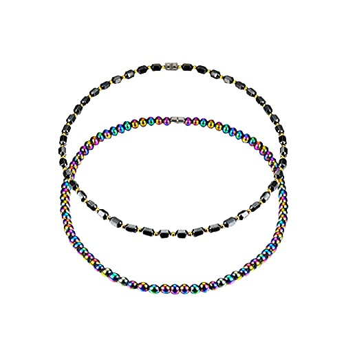 Hematite Magnetic Necklace Black Multicolor Magnetic Beads Pain Relief Therapy Arthritis Migraine Headaches Necklace-2pcs