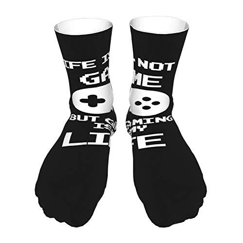 PoPBelle Socks Calcetines de impresión unisex antideslizantes Calcetines gruesos cálidos Calcetines casuales de poliéster christmas gifts L-Ife Is N-Ot A Ga-Me, But Ga-Ming Is M-Y Li-Fe