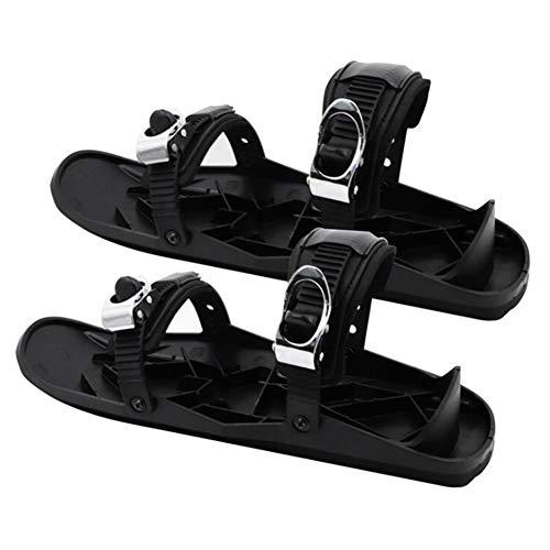 Mini botas de esquí patines para raquetas de nieve, nylon portátil negro talla única hebilla de metal cubre botas de esquí protectores de botas de esquí para deportes de invierno al aire libre,Negro