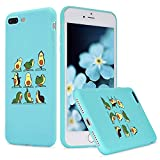 LuGeKe Cute Avocado Yoga Print Phone Case for iPhone 11 Pro Silicone Cases Dance Fruit Pattern Cover Shock Absorption Flexible Blue Skin Frame