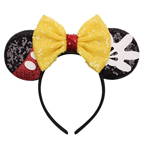 YanJie Mouse Ears Bow Headbands, Glitter Party Yellow Princess Decoration Cosplay Costume for Girls & Women (Yellow-Mickey)
