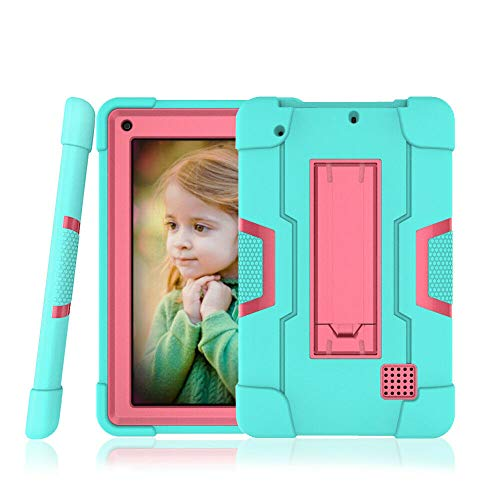 Cherrry for RCA Voyager 7 Case,RCA Voyager Pro+ Case,Hybrid Heavy Duty Rugged Shockproof Defender Full Body Protective Cover with Kickstand for RCA 7 Inch/RCA Voyager Pro+ 7 Inch Tablet(Green/Pink)