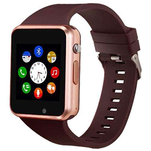 Hocent Smart Watch, Smartwatch with SD Card Camera Pedometer Phone Call Text SNS SMS Sync SIM Card Slot Music Player Alarm Compatible with Android and iPhone (Partial Functions) for Men Women Teens