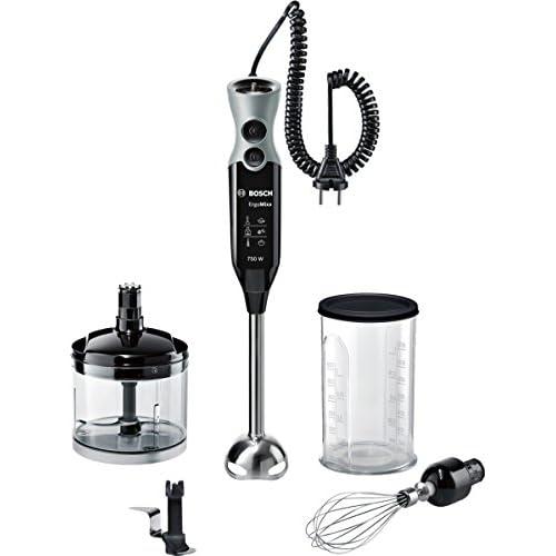 Bosch MSM67170 ErgoMixx Frullatore a Immersione, 750 W, 1 litro, 50 Decibel, Cavo a spirale estendibile, Plastica, Nero/Grigio