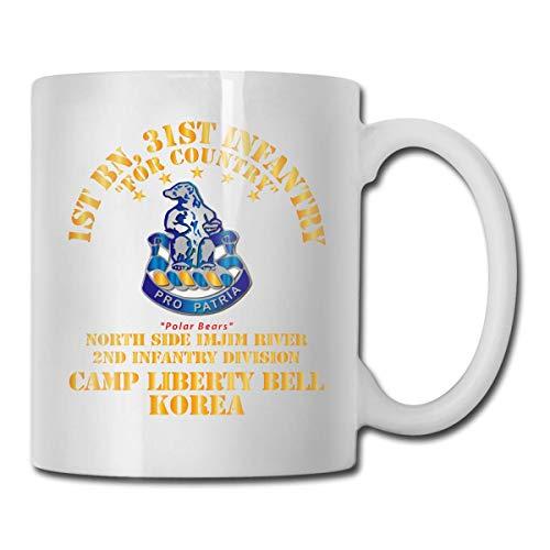 N\A 1st Bn 31. Infanterielager Liberty Bell Korea Nordseite Imjim River Lustiger Geschenkbecher Weißer Teebecher 11 Unzen