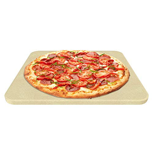 Pizza Stone for Best Crispy Crust Pizza, Only Stoneware with Thermarite (Engineered Tuff Cordierite). Durable, Certified Safe, Ovens & Grills 14 x 16 Rectangular, Bonus Recipe Ebook & Free Scraper