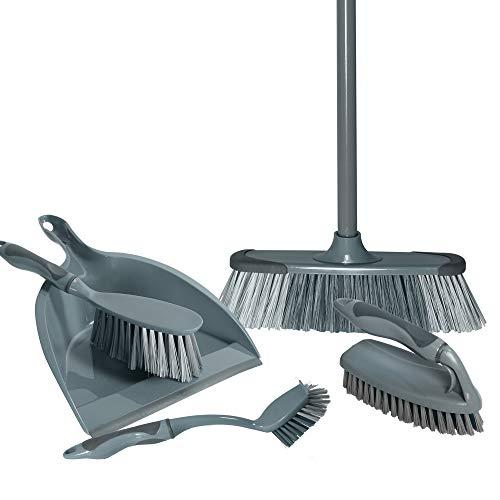 Our House 5-teiliges Reinigungsset, Langer Handschrubber, Kehrschaufel, Bürste und Besen, grau, 1