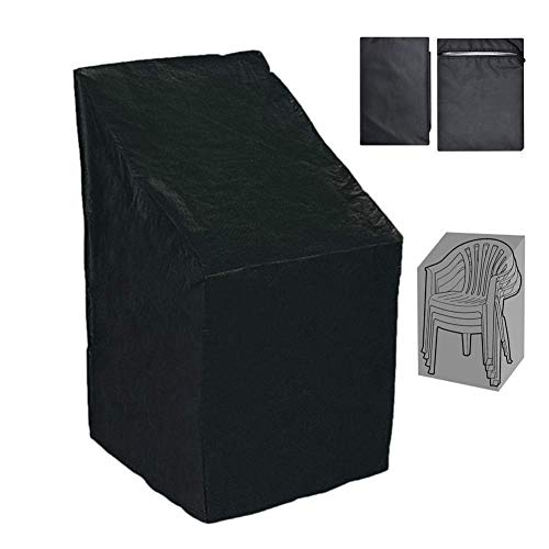 DJLOOKK Patio Stacking Chair Cover,Waterproof, Windproof, Anti-UV, Reclining Pation Chair Cover Outdoor Furniture Protector - Black