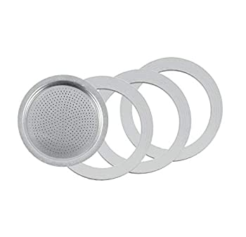 Tredoni 3 Rubber Seal/Rings+Filter -Replacement- Sizes 1,2,3,6,9,14 Cup Espresso coffee Maker Moka Pot- 7.1cm  6 Cup