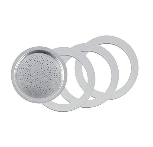 Tredoni 3 Rubber Seal/Rings+Filter -Replacement- Sizes 1,2,3,6,9,14 Cup Espresso coffee Maker Moka Pot- 7.1cm (6 Cup)