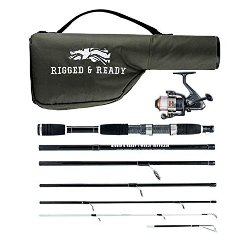Rigged & Ready World Traveler. Travel Fishing Rod and Reel Combo. Fishing kit - 6 Piece, 205cm, 6.7 ft, Powerful, Nano Carbon Rod with Unbreakable tip, 5 Bearing Steel Reel and case