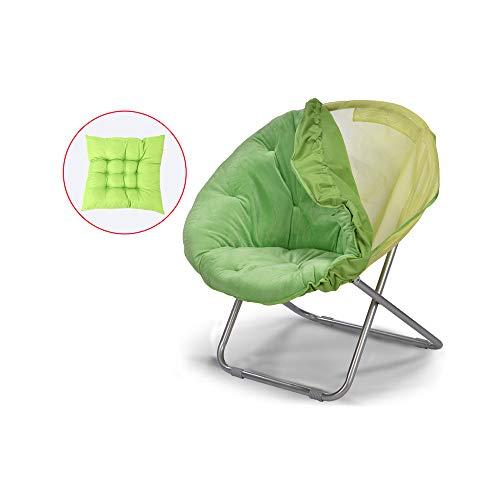 YQQ-Chaise pliante Chaise Longue Chaise De Pause Déjeuner Acier Lavable Coussin Moelleux 50 * 82CM (Couleur : Green)