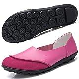 Hsyooes Damen Mokassin Bootsschuhe Leder Loafers Fahren Flache Schuhe Halbschuhe Slippers Erbsenschuhe, Rose Rot, (Herstellergröße: 43/42.5 EU)
