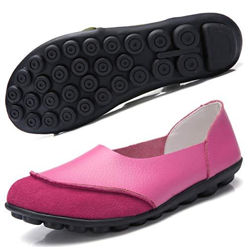 Hsyooes Damen Mokassin Bootsschuhe Leder Loafers Fahren Flache Schuhe Halbschuhe Slippers Erbsenschuhe, Rose Rot, (Herstellergröße: 38/37.5 EU)