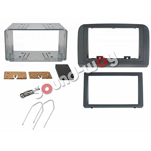 Sound Way Kit Montaggio Autoradio, Mascherina 2 DIN, Plancia Metallica, Adattatore Antenna, Chiavi di Smontaggio, Compatibile con Fiat Croma