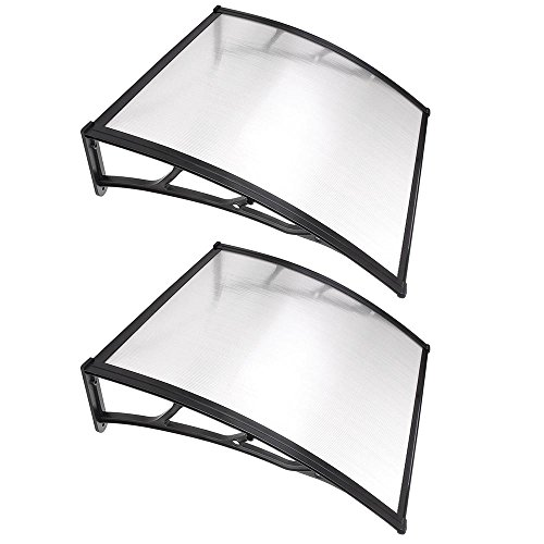"""Yescom 2 Sets 39""""x39"""" Outdoor Clear Door Window Awning Patio Cover Rain Protection One-Piece Polycarbonate Hollow Sheet"""