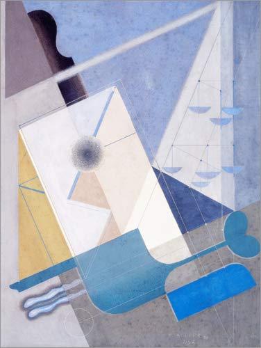 Posterlounge Leinwandbild 30 x 40 cm: Komposition 215A von Karol Hiller - fertiges Wandbild, Bild auf Keilrahmen, Fertigbild auf echter Leinwand, Leinwanddruck