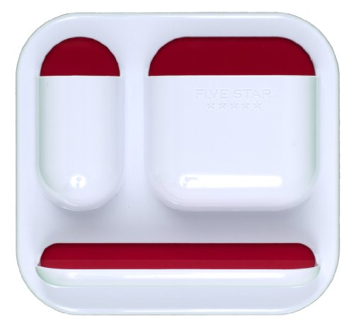 """Five Star Locker Accessories, Tri-Pocket with Dry Erase Surface, 7"""" x 7-1/2"""", White with Red Pockets (72624)"""