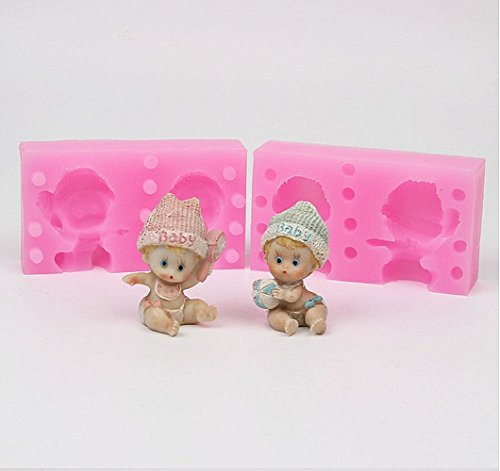 Baifeng Molde de silicona para decoración de tartas de bebé, 2 cavidades 3D, fondant, chocolate, gelatina, caramelo, decoración de tartas de bebé, herramientas para hornear, arcilla, vela, jabón, yeso