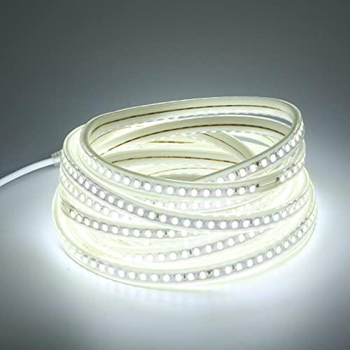 Tira de LED 6M AC 220V IP67 5730 120leds/m Tira de luz LED flexible blanca fría con enchufe de cable de alimentacion estandar europeo Lampara de ahorro de energía para dormitorio, cocina, jardín 6 M