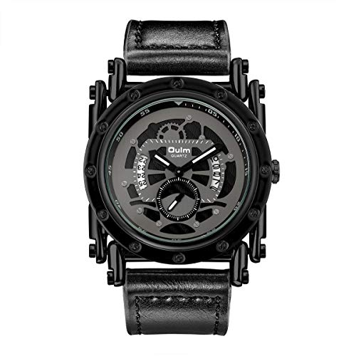 FQDQH Hombres Personalizado Hueco de múltiples Funciones de Reloj, Calendario, pequeño de Tres Pines, Impermeable Reloj, Regalo del Amor (Color : Black.)