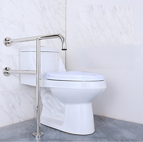 WEBO HOME- Accoudoir en acier inoxydable accoudoir de sécurité de salle de bain toilette toilette poignée de toilette vieille clôture en T -Main courante de salle de bain