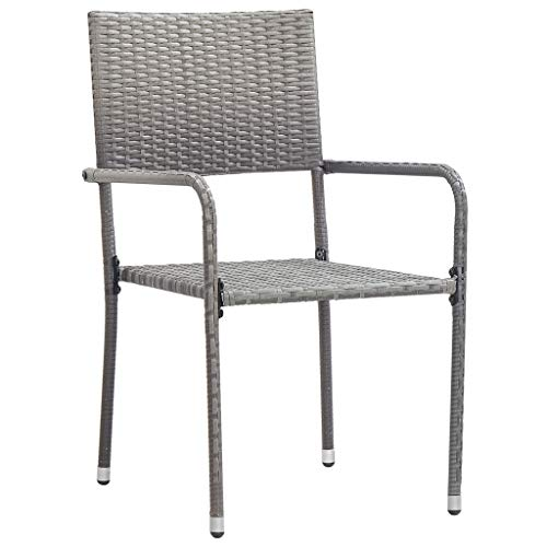 Bonzy Home Outdoor Dining Chairs 2 pcs Poly Rattan Grey
