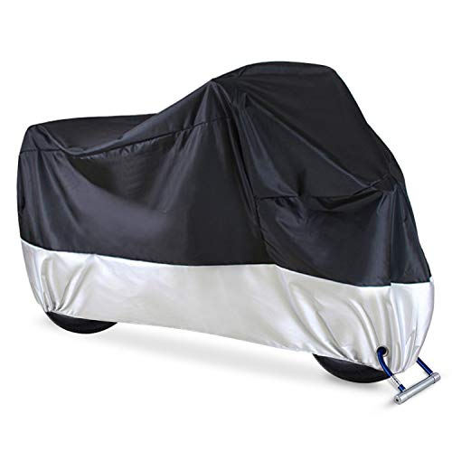 Ohuhu Waterproof Motorcycle Cover | Fits up to 108' Motors, 2 Anti-theft Lock-holes Design | for Honda, Yamaha, Suzuki, Harley and More