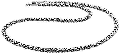 Kuzzoi Massive 925 Sterling Silber Königskette Herren Halskette, Dicke 4mm, Länge 50 cm, mit Schmuckbox - 345054-050