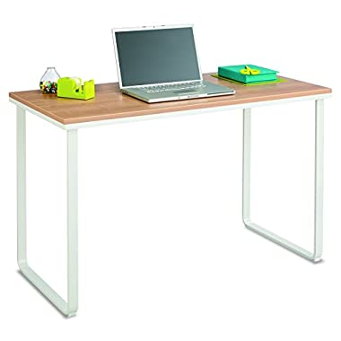 Safco Products 1943BHWH Simple Design Table Desk with Sled Base, Beech/White