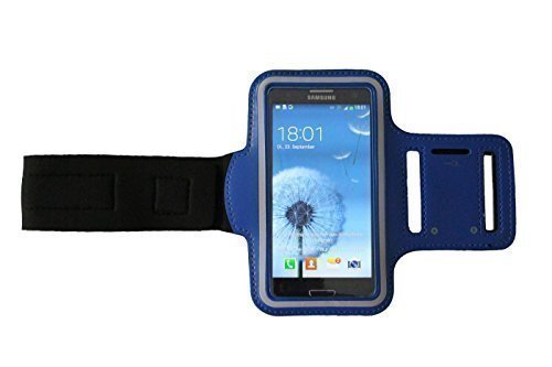 Dealbude24 Dunkel-Blau M Sport Armband Schutz Hülle für Samsung Galaxy S5 Mini und A5 Case veränderbarer Länge, für Rennen, Workout, Wandern, Fitness und Laufen mit Kopfhöreranschluss aus Neopren