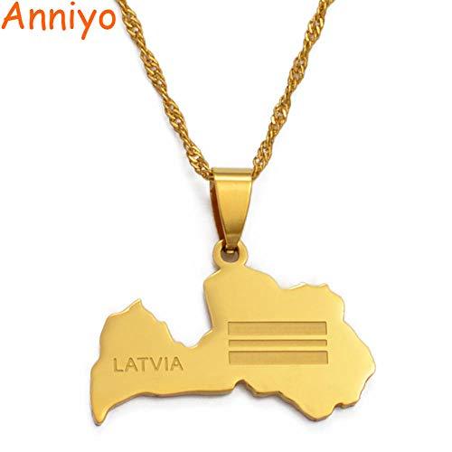 NCDFH Collar con Colgante de Bandera de Mapa de Letonia para Mujer, Collares de mapas de Color Dorado, joyería, Regalos, Cadena Fina de 45 cm