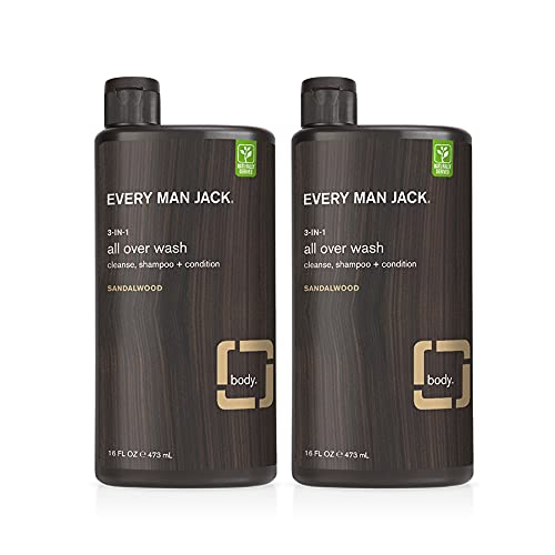 Every Man Jack Men's 3 in 1 All Over Wash Twin Pack - Sandalwood | Naturally Derived, Parabens-free, Dye-free, Gluten Free, Certified Cruelty Free, 50% PCR Bottles | 2 Bottles