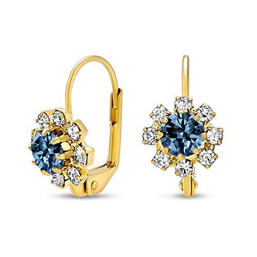 Azul marino y blanco flor de cristal 18K oro plateado latón Leverback pendientes colgantes para las mujeres simulado zafiro
