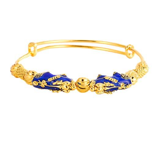 Holibanna Brazalete de Cobre Pi Xiu Riqueza Lucky Feng Shui Pulsera Abierta Extensible Cadena de Muñeca Joyería para Mujeres Niñas Regalo (Dorado)