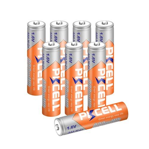 Pkcell - Confezione da 8 batterie AAA Ni-ZN, 1,6 V, 900 mWh, ricaricabili