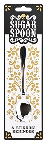 SUCK UK Cucharilla Calavera, Acero Inoxidable, Plata, 3.3x15.1x1.8 cm