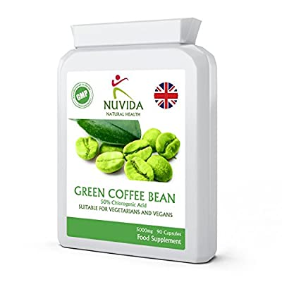 Green Coffee Bean Extract Capsules/High Strength / 5000mg / 90 Vegetarian Capsules/Using Raw Un-Roasted Green Coffee Beans / 100% Quality Assurance from Nuvida Natural Health