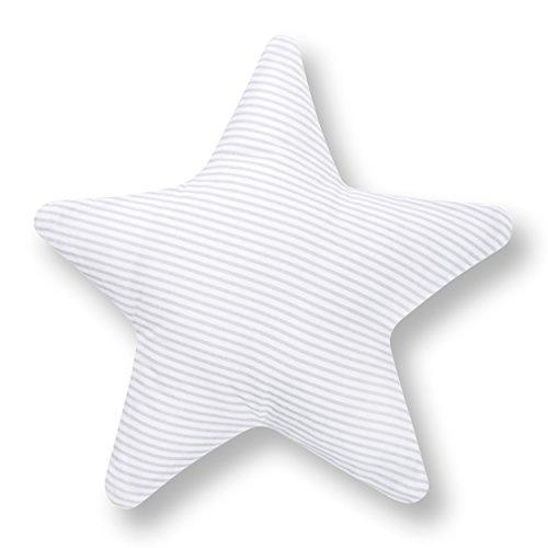 Amilian® Kissen Stern Streifenmuster Grau Dekokissen Kuschelig Flauschig ca. 28 cm