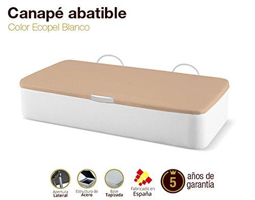 Naturconfort Canapé Abatible Tapizado Apertura Lateral Tapa 3D Ecopel Blanco 105x190cm Envio y Montaje Gratis