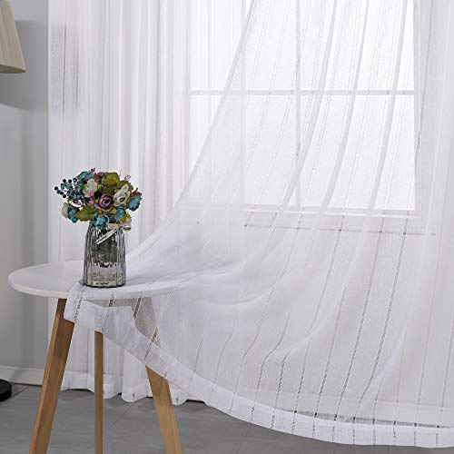 White Curtains 84 Inches Long for Bedroom 2 Panels Rod Pocket Window Drape Linen Cotton Look Stripe Designed Light Filtering Farmhouse Country Lightweight Semi Sheer Curtains for Living Room 52 Length