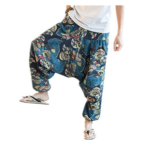 Unisex Pluderhose in vielen individuellen Farben - Herren Haremshose Baggy Pumphose Yoga Tanz Strand Hosen große größe Freizeithose Pluderhose Aladin Pants Männer Pluderhose Retro Drucken Aladinhose