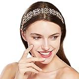 ArtiDeco - Accessorio per capelli da sposa, con cristalli, accessorio per acconciature da damigella nuziale, con foglie e motivo floreale con strass